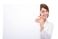 Businesswoman with blank board Stock Image
