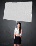 Businesswoman with blank booklet paper Royalty Free Stock Photos
