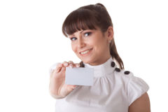 Businesswoman with blank business card Stock Photo