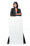 Businesswoman with a blank card Royalty Free Stock Photo
