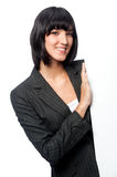 Businesswoman with a blank card Royalty Free Stock Image