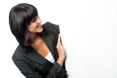 Businesswoman with a blank card Stock Image