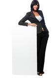 Businesswoman with a blank card Stock Photography