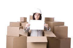 Businesswoman with blank card in carton box Stock Photography