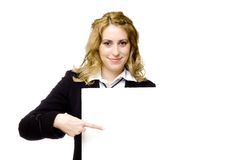 Businesswoman with blank cardboard Royalty Free Stock Images