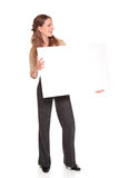 Businesswoman - blank check Stock Photo