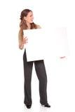 Businesswoman - blank check Stock Photo