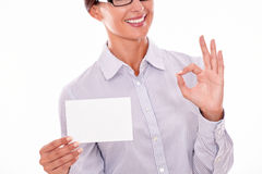 Businesswoman with blank copy space, cropped Stock Photography