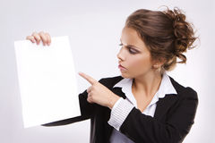 Businesswoman with blank paper Royalty Free Stock Photos