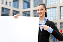 Businesswoman with blank paper Royalty Free Stock Image