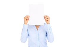 Businesswoman and blank paper Stock Image