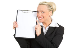 Businesswoman with a blank sheet of paper Royalty Free Stock Photo