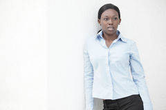 Businesswoman in blue Stock Images