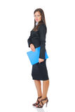 Businesswoman with blue folder royalty free stock photography