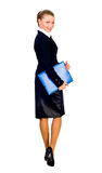 businesswoman with blue folder. isolated Stock Photos