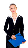 businesswoman with blue folder. isolated Stock Image