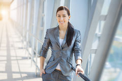 Businesswoman on the blue modern background Royalty Free Stock Photos