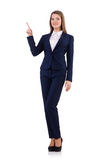 The businesswoman in blue suit isolated on white Royalty Free Stock Photo