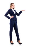 The businesswoman in blue suit isolated on white Royalty Free Stock Photos