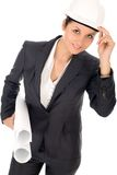 Businesswoman with Blueprints royalty free stock photos
