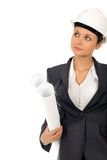 Businesswoman with Blueprints stock photo