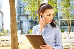 Businesswoman with Bluetooth Royalty Free Stock Photography