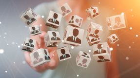 Businesswoman choosing candidate for a job 3D rendering Royalty Free Stock Photo