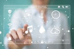 Businesswoman eco house concept 3D rendering. Businesswoman on blurred background eco house concept 3D rendering Stock Photos