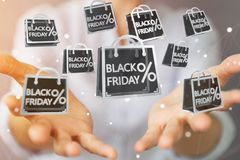 Businesswoman enjoying black Friday sales 3D rendering. Businesswoman on blurred background enjoying black Friday sales 3D rendering Stock Image