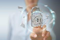 Businesswoman hacking in broken padlock security 3D rendering. Businesswoman on blurred background hacking in broken padlock security 3D rendering Stock Image