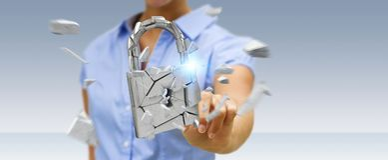 Businesswoman hacking in broken padlock security 3D rendering. Businesswoman on blurred background hacking in broken padlock security 3D rendering Stock Photo