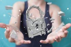 Businesswoman hacking in broken padlock security 3D rendering. Businesswoman on blurred background hacking in broken padlock security 3D rendering Stock Photos