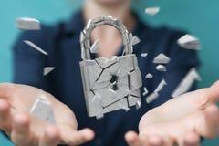 Businesswoman hacking in broken padlock security 3D rendering. Businesswoman on blurred background hacking in broken padlock security 3D rendering Stock Photography