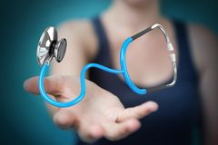 Businesswoman holding and touching floating stethoscope 3D rende Stock Images