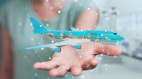 Businessman with plane and famous landmarks of the world 3D rend. Businesswoman on blurred background with plane and famous landmarks of the world 3D rendering Stock Photography