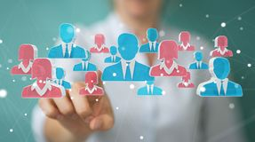 Businesswoman recruiting candidate for a job 3D rendering. Businesswoman on blurred background recruiting candidate for a job 3D rendering Stock Image