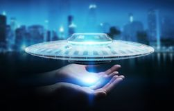 Businesswoman with retro UFO spaceship 3D rendering. Businesswoman on blurred background with retro UFO spaceship 3D rendering Royalty Free Stock Photos