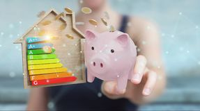 Businesswoman saving money with good energy chart rating 3D rend. Businesswoman on blurred background saving money with good energy chart rating 3D rendering Royalty Free Stock Photography