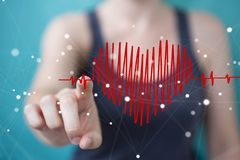 Businesswoman touching and holding heart beat sketch Royalty Free Stock Images