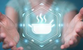 Businesswoman using application to order home made food online 3. Businesswoman on blurred background using application to order home made food online 3D Royalty Free Stock Image