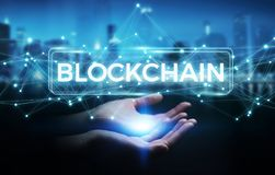 Businesswoman using blockchain cryptocurrency interface 3D rende. Businesswoman on blurred background using blockchain cryptocurrency interface 3D rendering Stock Photo