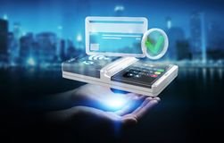 Businesswoman using contactless terminal payment 3D rendering. Businesswoman on blurred background using contactless terminal payment 3D rendering Stock Image
