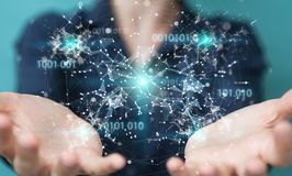 Businesswoman using digital binary code connection network 3D re. Businesswoman on blurred background using digital binary code connection network 3D rendering Stock Photos
