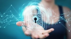 Businesswoman using digital padlock with data protection 3D rend. Businesswoman on blurred background using digital padlock with data protection 3D rendering Stock Image
