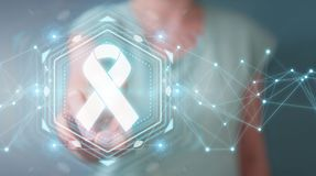Businesswoman using digital ribbon cancer interface 3D rendering. Businesswoman on blurred background using digital ribbon cancer interface 3D rendering Stock Photos