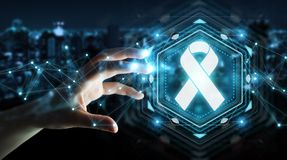 Businesswoman using digital ribbon cancer interface 3D rendering. Businesswoman on blurred background using digital ribbon cancer interface 3D rendering Royalty Free Stock Photos
