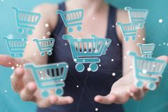 Businesswoman using digital shopping icons 3D rendering. Businesswoman on blurred background using digital shopping icons 3D rendering Stock Images