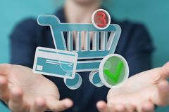 Businesswoman using digital shopping icons 3D rendering. Businesswoman on blurred background using digital shopping icons 3D rendering Stock Image