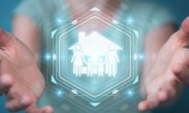 Businesswoman using family care insurance application 3D renderi. Businesswoman on blurred background using family care insurance application 3D rendering Royalty Free Stock Photography
