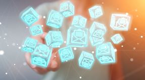 Businesswoman using floating cube emails 3D rendering Stock Images